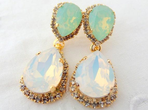 White opal mint Chandelier earringsopal bridal earringsmint