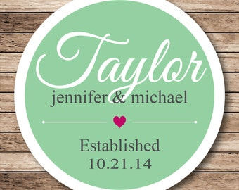 New Last Name Personalized Wedding Stickers, Labels or Tags
