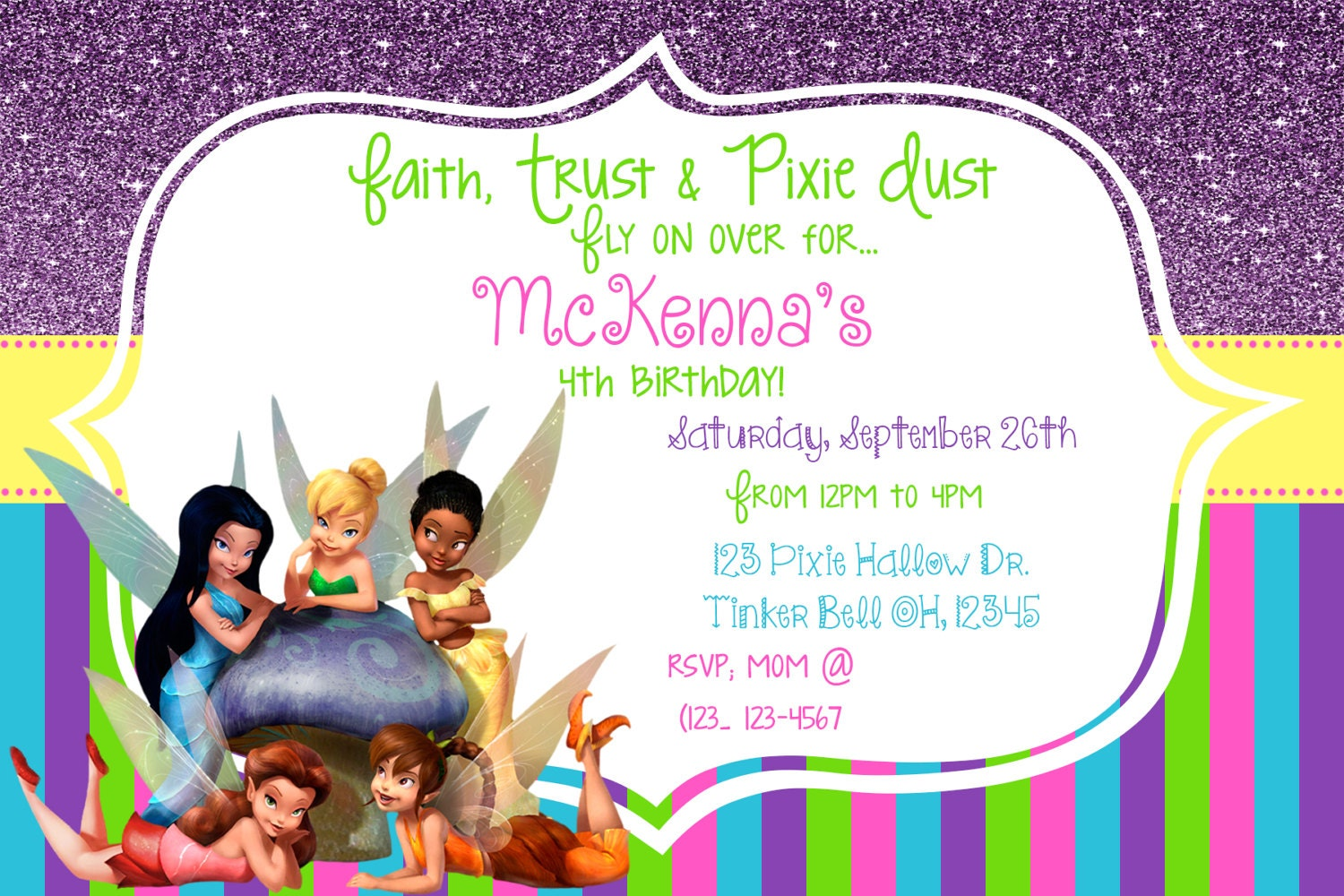 Tinker Bell Invitation Matching Thank You Card Tinker Bell