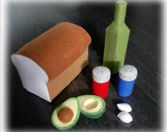 Felt Bread and Avocado Set - Patterns and Tutorials PDF Sewing Patterns (Instant Download)