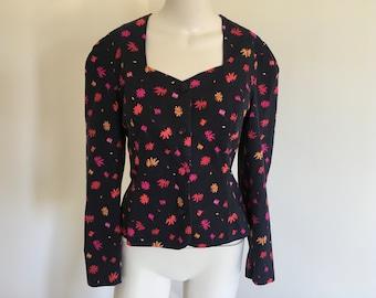 Vintage Laura Ashley Black with Red Orange Pink Floral Jacket Size 14