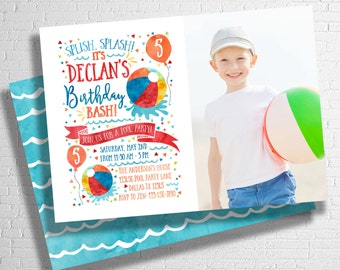 Splish Splash Beach Ball Invitation | Pool Party Birthday Invite | Birthday Pool Party | Summer Birthday Invitation | DIGITAL FILE ONLY