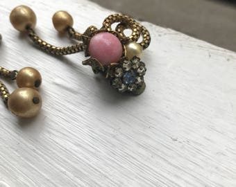 Amourelle Vintage Rhinestone Flower 1960s Mesh Chain Dangle Clip On Earrings Costume Jewelry