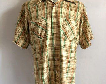 Vintage Men's 60's Yellow, Plaid, Shirt, Short Sleeve by Redwood (L Tall)