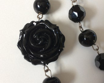 Handmade Necklace women's jewelry set black jewelry black necklace rose earrings sterling silver earrings l hypoallergenic nickel free