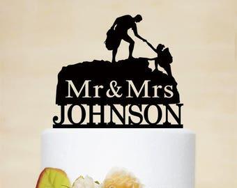 Custom Climbing Cake Topper,Mr And Mrs Wedding Cake Topper, Hiking Cake Topper,Rock Climbing Couple,Outdoor Wedding C240