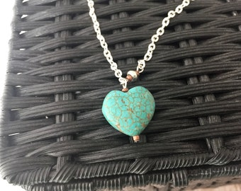 Heart Pendant Necklace, Stone Heart Necklace, Turquoise Heart Necklace, Silver and Turquoise Necklace, Valentine's Day Gift, Heart Jewelry