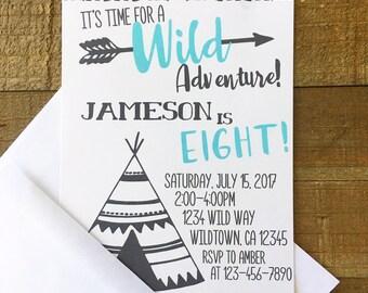 12 adventure birthday invitations, wild adventure party invites, teepee and arrow birthday invitation, black white blue birthday invite