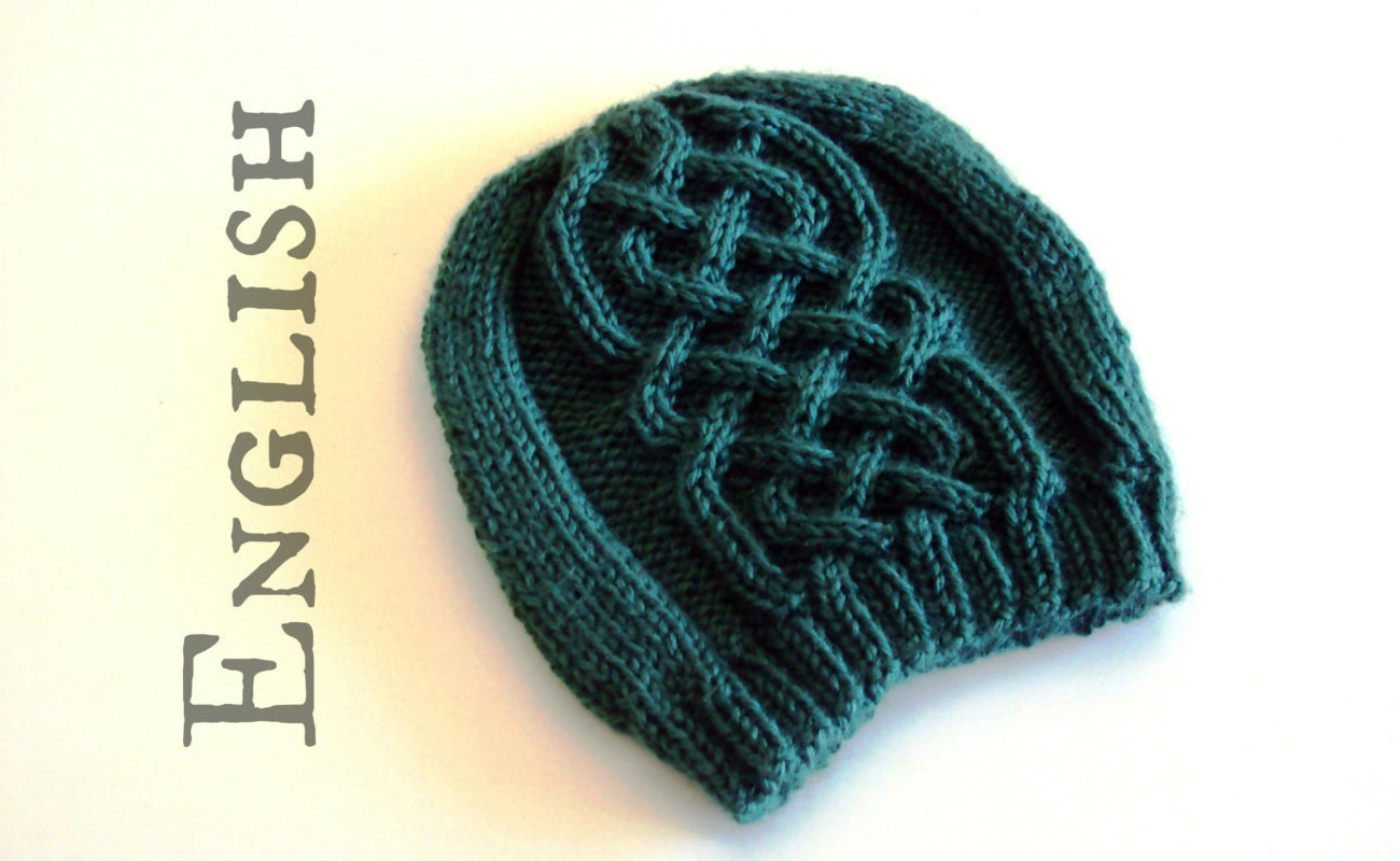 Celtic beanie KNITTIG PATTERN Celtic cables hat knitting