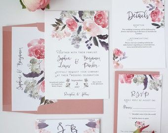 Dusty Rose Wedding Invitations - Pink and Lavender - Wedding Invitation Set - Dusty Rose Floral Collection Deposit