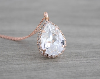 Rose gold necklace, Bridal necklace, Bridal jewelry, Bridesmaid necklace, Wedding jewelry, Swarovski crystal necklace, Wedding necklace