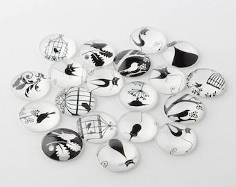 black & White Bird glass cabochon model 4