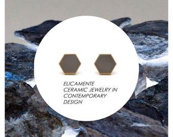The Original, Geometric stud, Ceramic earrings, Gold Stud, stud, GRAY earrings, minimalist, ceramic earring, Honeycomb jewelry, ceramic,