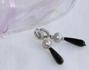 Silver Pearl Onyx earrings