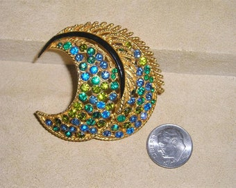 Vintage Signed Coro Blue Green Iridescent Rhinestones Brooch. Sumptuous 1960's Jewelry 6044