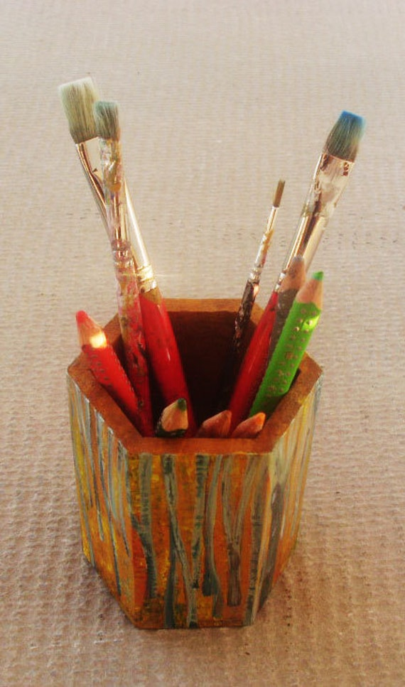"""Pencil holder made of wood - Totally hand painted """"Beech Forest"""""""