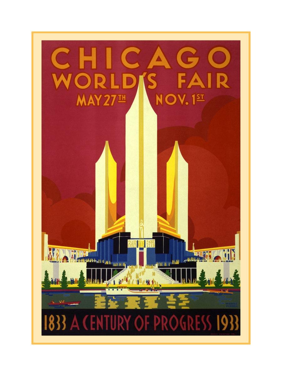 Chicago Worlds Fair Poster 1933 Vintage Chicago Art Prints