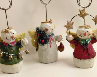 Set Of 3 Wooden Snowman Angels/Photo/Card Holders/Holiday Theme (Z)