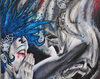 Demons at angel - Original painting