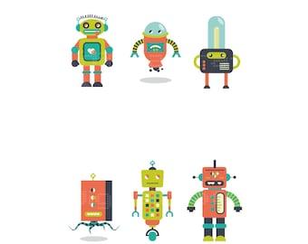 3 Robots Mix SET- Robots - Poster  - Ilustracion Retro  - Cosmos - Regalos Bebe  - Arte Infantil - Tamaños Combinados A3+A4