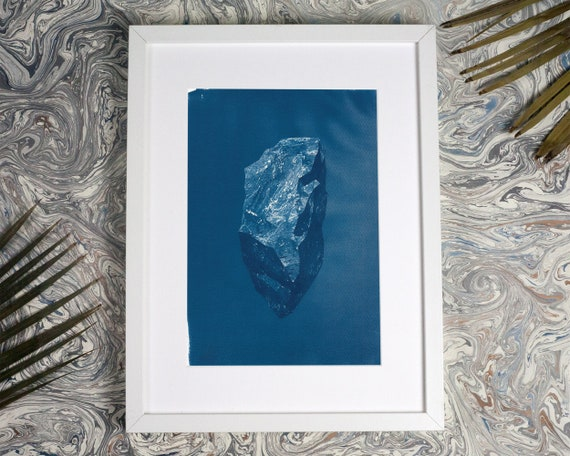 Low-Poly Rock, Cyanotype Print, Geology, Bohemian Findings, Hand Printed, Rustic Home Decor, Bohemian Bedroom, Designer home,  3d rock