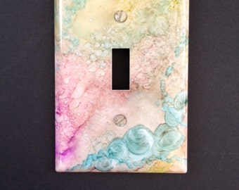 Switch Plate  - Shabby Pink & Tan w Aqua Roses - Faux Stone - Wall Decor