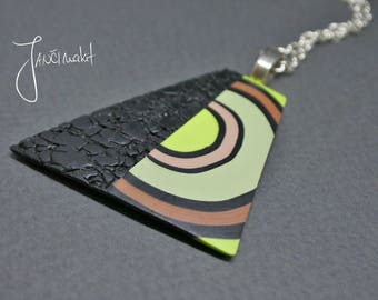 Long neklace, Green and black pendant, Beautiful neklace, Spring neklace, Abstract neklace, Retro neklace, Present for women