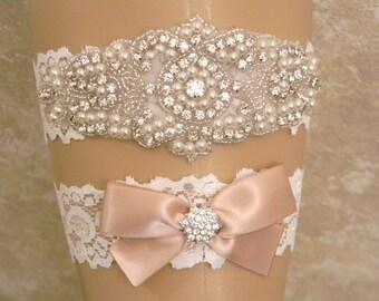Champagne Wedding Garter, Wedding Garter Set, Bridal Garter, Wedding Garter, Pearl and Crystal Rhinestone Garter, Keepsake and Toss Garters