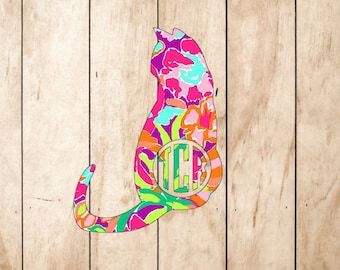 Cat Monogram Vinyl Decal - Cats Pets Kitten Monogrammed Lilly Pulitzer Preppy