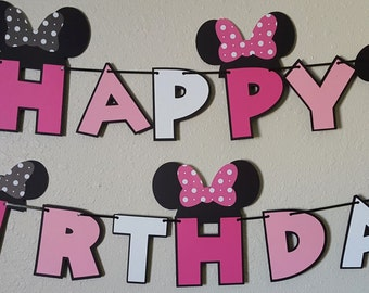 Minnie Mouse Birthday Banner, Minnie Mouse Party, Minnie Mouse Sign, Minnie Mouse decor, Minnie Mouse Bowtique, Minnie Banner, Minnie Pink
