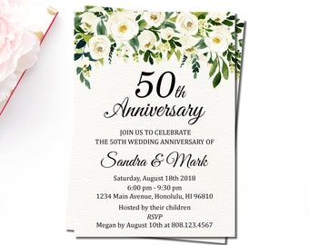 Any Year, Wedding Anniversary Invitation Printable, White Floral Greenery, Golden Anniversary, 10, 20, 30, 40, 50, 60 years of love, W2
