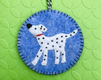 Wool Felt Dalmation Dog Ornament, Puppy, Hanging Decoration, Hanging Ornament, Applique, Handmade.