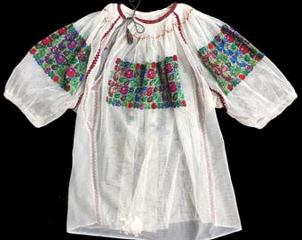 Vintage Hand embroidered Romanian blouse with beads, 86usd from 110usd