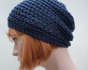 Slouch Hat -Dark Blue Gray Slouchy- Beanie - Crocheted Hat