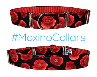 Poppy flowers dog collar