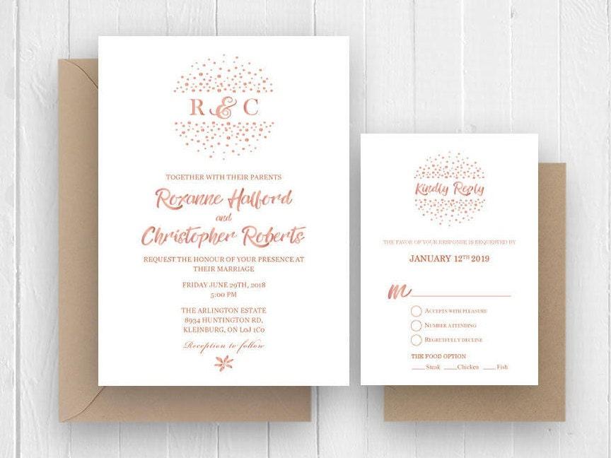 Rose Gold wedding invitations, Rose gold calligraphy invitation RSVP ...