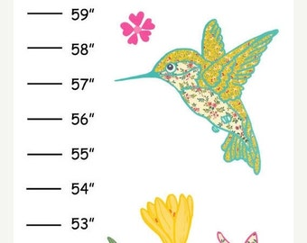 Personalized Hummingbirds Canvas Growth Chart