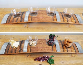 Barrel Stave Snack Tray.  Made from retired oak wine barrel