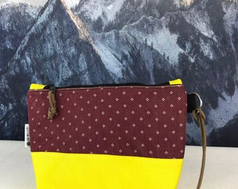 Yellow and Upcycled Maroon Toiletry Make-Up Pouch
