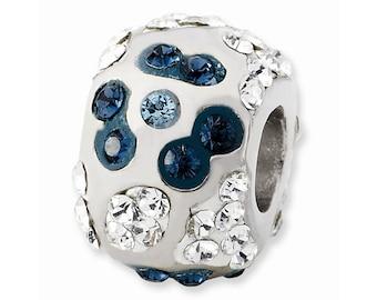 Sterling Silver White & Grayish Blue Crystal Flower Bead
