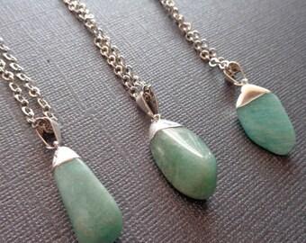 Tumbled Aquamarine Silver Necklace / Natural Tumbled Aquamarine / March Birthstone Gift / Aquamarine Silver Cap / Silver Aqua marine /GP5