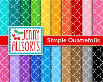 Quatrefoil Digital Papers - 20 Sheets in Rainbow Colors - Instant Download