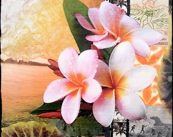 GLASSED, ISLAND STYLE, 4x4 and Up, Hand Painted, re-collaged artwork, wood panel, modern, surfing, black and white,wall art, gift, Plumeria