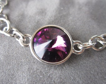 February Birthstone Jewelry, Amethyst Bracelet, Silver Swarovski Crystal Jewelry, Birthstone Bracelet