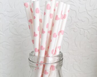 Paper Straws Pink Hearts. Love. Valentines Day. Baby Shower. Birthday. Bridal Shower