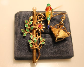 a732 Enameled Brooch Vintage Lamp Post with Enameled Bird Leaves and Ruby Flower