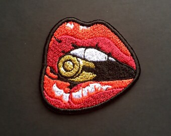 Lips Bullet Patch Iron On Embroidered Patches Applique Embroidery • Girl Power War Army Blood