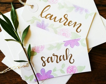 Bridesmaid Gift Tags (10)- personalized gift tags, bridesmaid gift, bridal shower, floral custom gift tags, favor tags, party favors