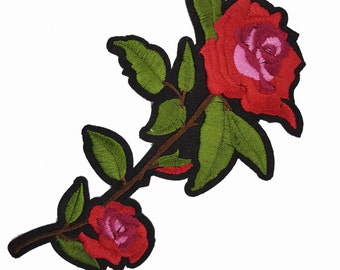 Red Roses Embroidered Flowers Patches Appliques, Red Flowers Patch Applique
