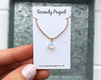 Beaded gold necklace, opalite style moonstone necklace, gemstone necklace, gold choker, gold layered necklace by Serenity Project